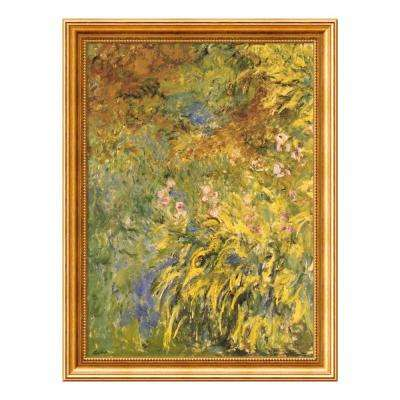 25 in. W x 33 in. H 'Irises' by Claude Monet Printed Framed Wall Art