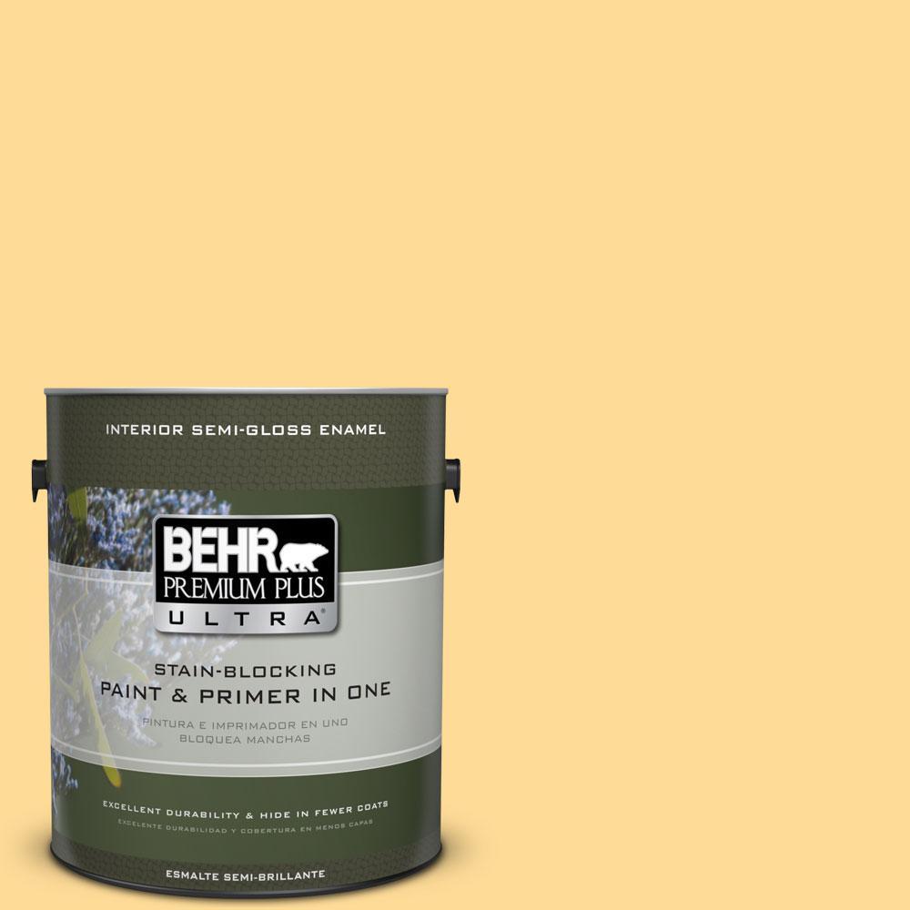 BEHR Premium Plus Ultra 1-gal. #320B-4 Lemon Pound Cake Semi-Gloss Enamel Interior Paint