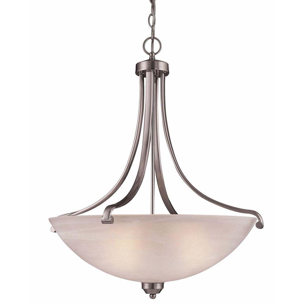 Chateau Pedestal Lantern Nickel: Hampton Bay Chateau Deville 3-Light Walnut Bowl Pendant