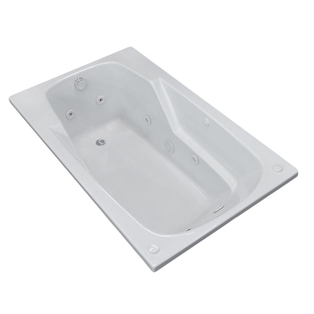 Universal Tubs Coral 6 ft. Rectangular Drop-in Whirlpool Bathtub in White