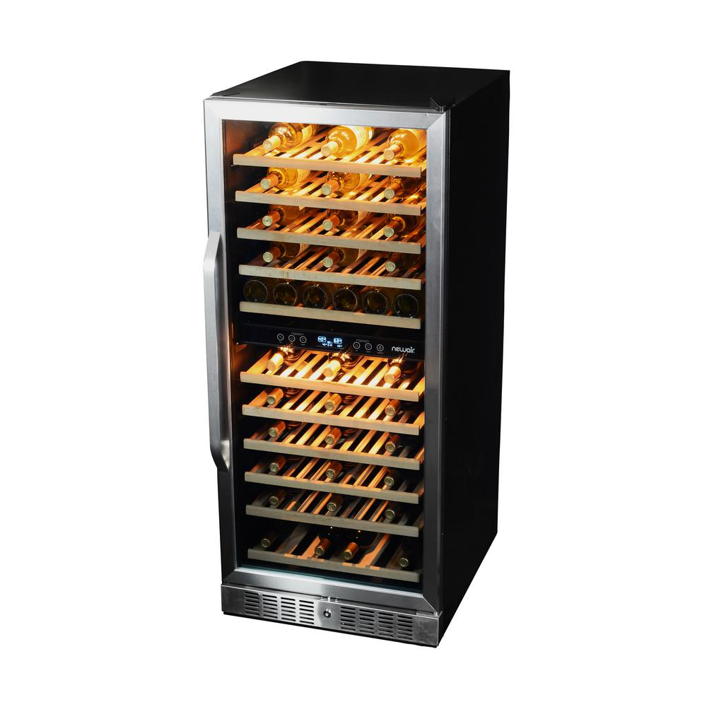 NewAir 116-Bottle Dual Zone Built In Wine Cooler, Black/S...