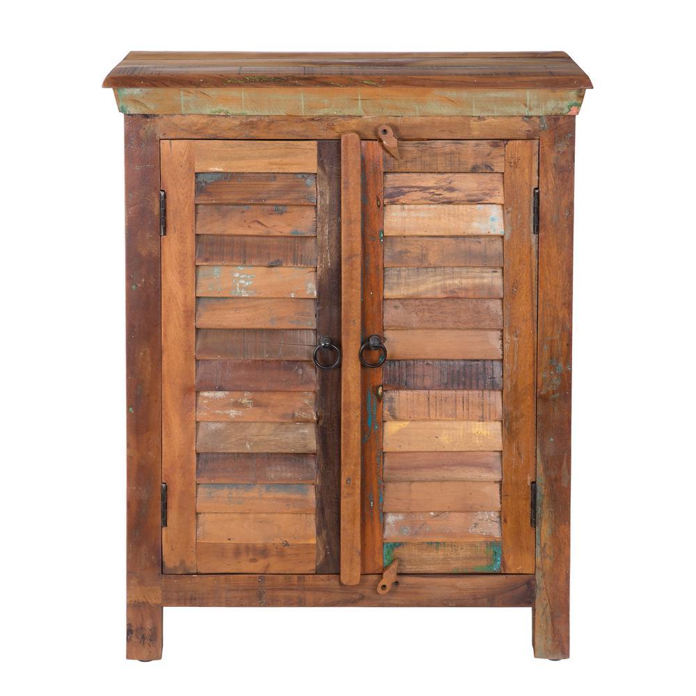 Decorative Wood Storage Cabinets ~ Yosemite home decor hand painted brown storage cabinet