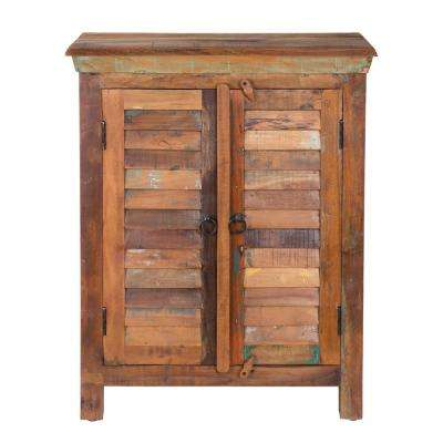 Hand Painted Brown Storage Cabinet