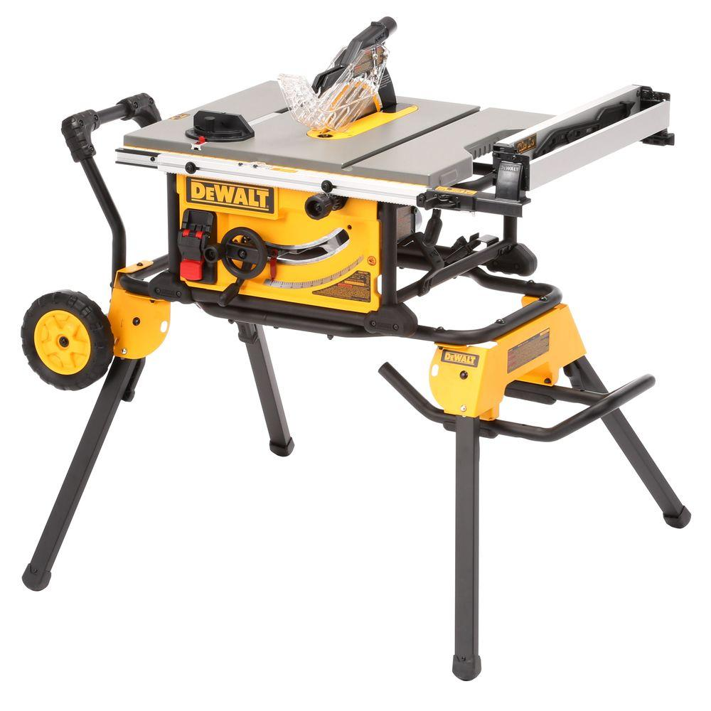 Dewalt 15 amp corded 10 in job site table saw with rolling stand job site table saw with rolling stand dwe7491rs the home depot greentooth