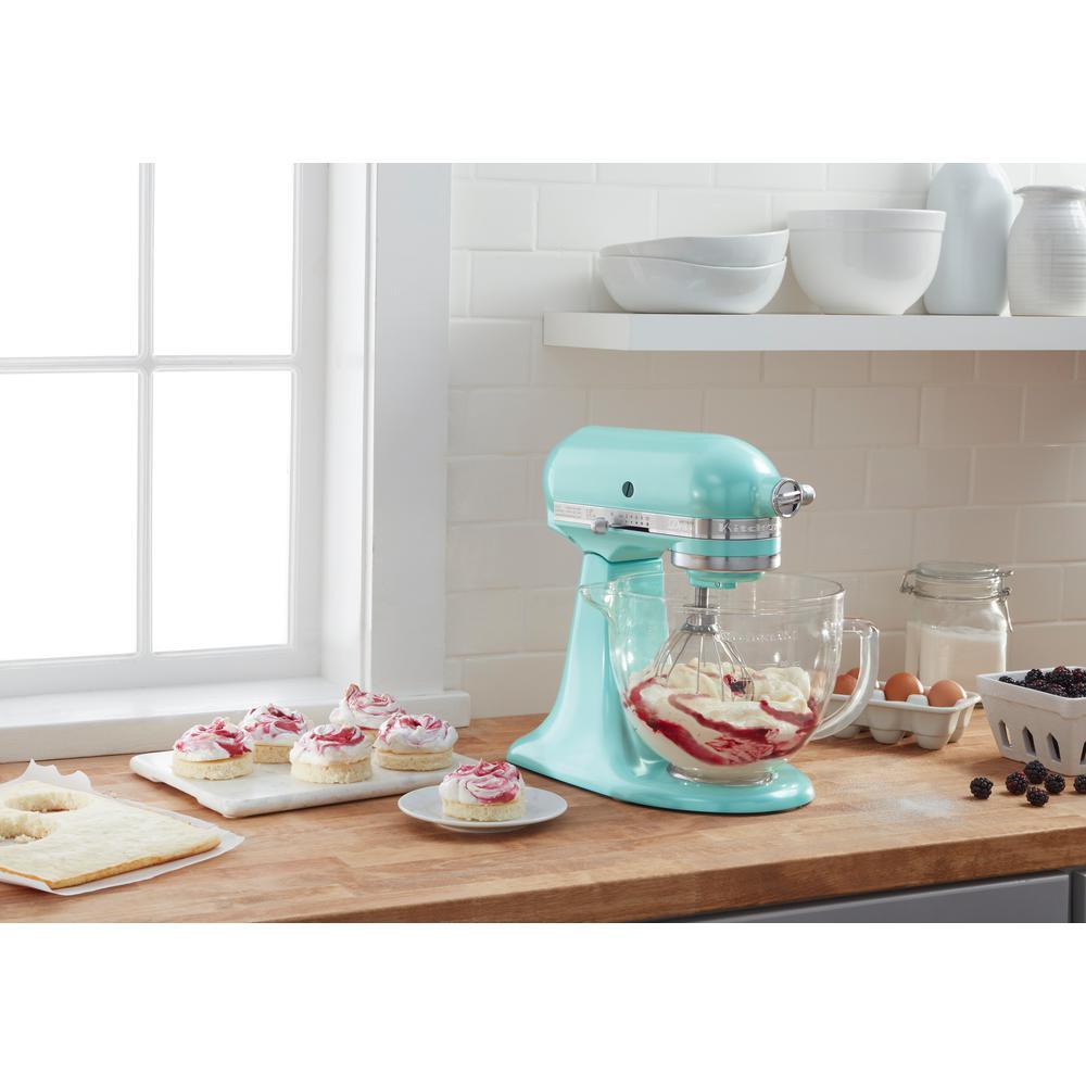 Kitchenaid Artisan Designer 5 Qt 10 Speed Azure Blue Stand Mixer With Glass Bowl Ksm155gbaz The Home Depot