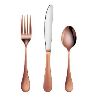 Rain 18/10 Stainless Steel Flatware 36-Piece Set, Antique Copper Finished, Service for 12