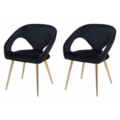 Black Velvet Accent Dining Chair with Gold Metal Legs and Keyhole Back (Set of 2)