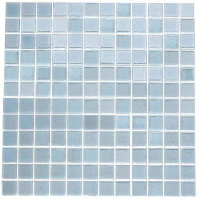 12 in. x 12 in. x 4mm Tile Esque Sky Blue Glow in the Dark Recycled Glass Mesh-Mounted Mosaic Tile