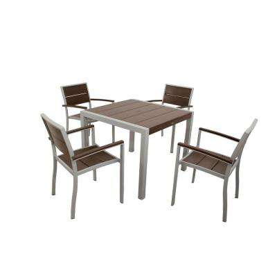 Surf City Textured Silver 5-Piece Plastic Outdoor Patio Dining Set with Vintage Lantern Slats