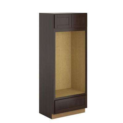 Princeton Shaker Assembled 33x84x24 in. Pantry/Utility Double Oven Cabinet in Java