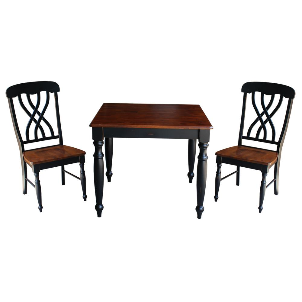 International Concepts Bridgeport 3 Piece Rubbed Black And Espresso Dining  Set