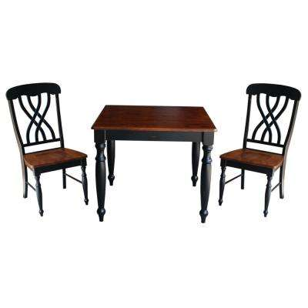Bridgeport 3-Piece Rubbed Black and Espresso Dining Set