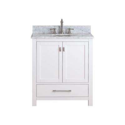 Modero 31 in. W x 22 in. D x 35 in. H Vanity in White with Marble Vanity Top in Carrera White and White Basin