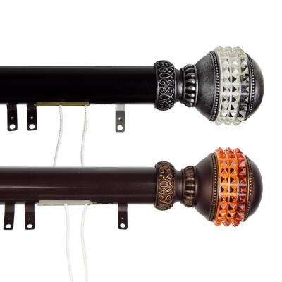 30 in. - 48 in. Gemstone Decorative Traverse Rod with Sliders in Cocoa