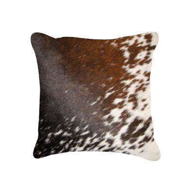 Torino Salt and Pepper Brown and White 18 in. x 18 in. Cowhide Pillow