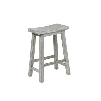 Sonoma Storm Gray Wire-Brush Saddle Counter Stool