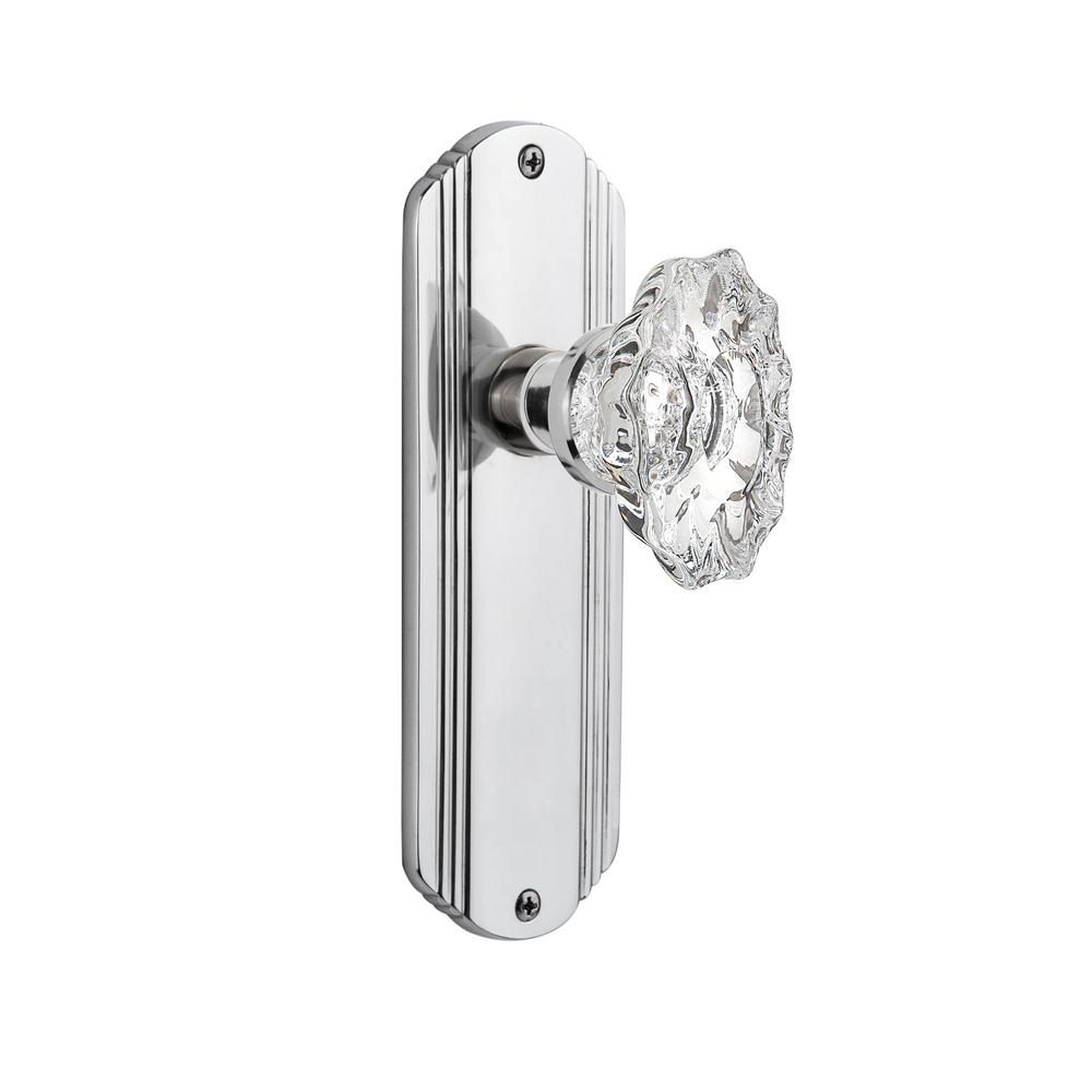 Deco Plate 2-3/8 in. Backset Bright Chrome Privacy Chateau Door Knob
