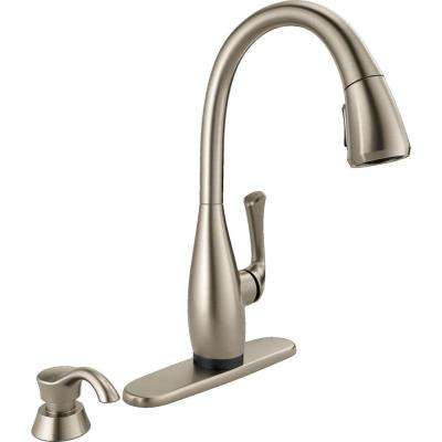 Dominic Single-Handle Pull-Down Sprayer Kitchen Faucet with Touch2O Technology & Soap Dispenser in SpotShield Stainless