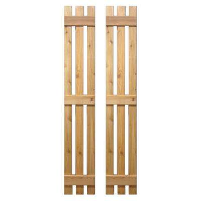 15 in. x 55 in. Baton Spaced Board and Batten Shutters Pair Natural-Cedar
