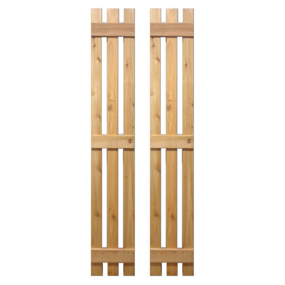 12 in. x 67 in. Natural Cedar Baton Spaced Shutters Pair