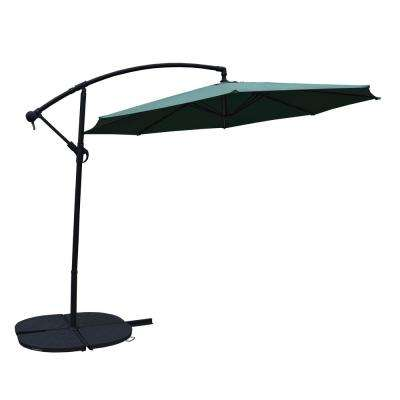 Green and Black 10 ft. Cantilever Umbrella and 4 Casted Polyresin Heavy Duty Weights