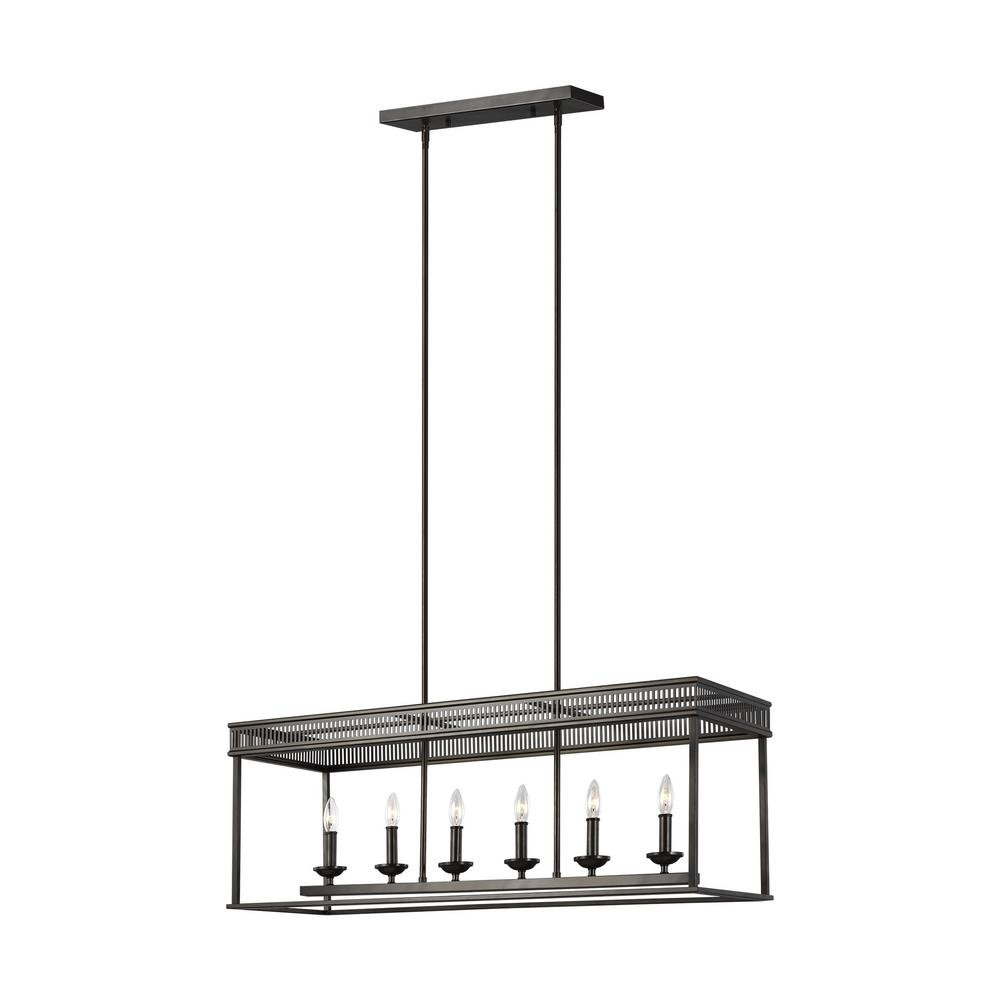 Feiss Woodruff 6-Light Antique Bronze Linear Chandelier was $1019.9 now $289.0 (72.0% off)