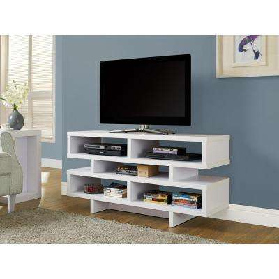Hollow Core White Shelved Entertainment Center
