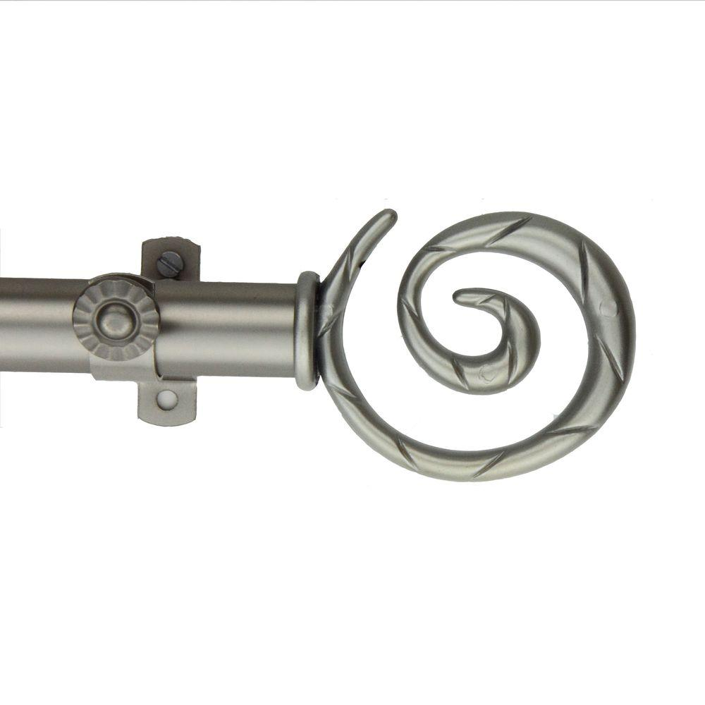 Rod Desyne 120 in. - 170 in. Telescoping Curtain Rod Kit in Satin Nickel with Spiral Finial