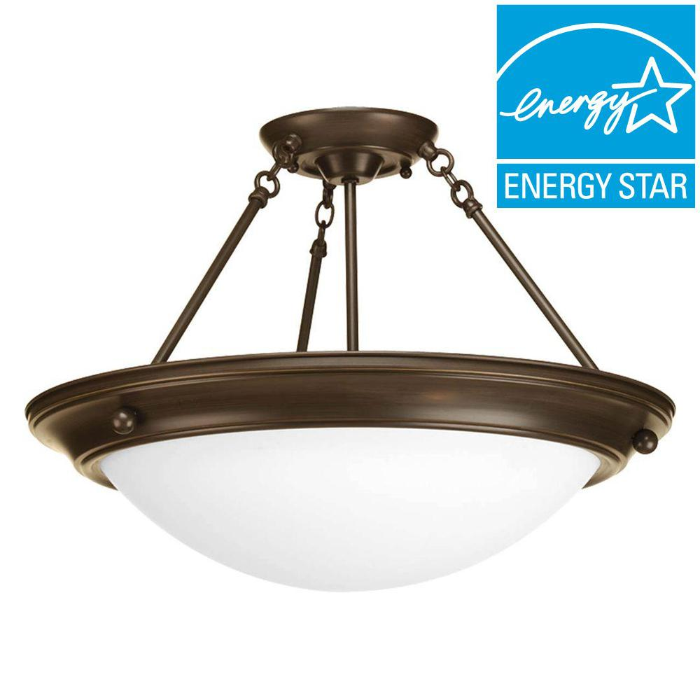Progress Lighting Eclipse Collection 3-Light Antique Bronze Semi-Flushmount