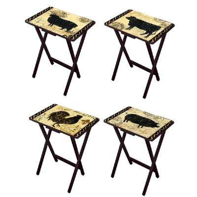 Elegant Farmhouse TV Tray with Stand (Set of 4)
