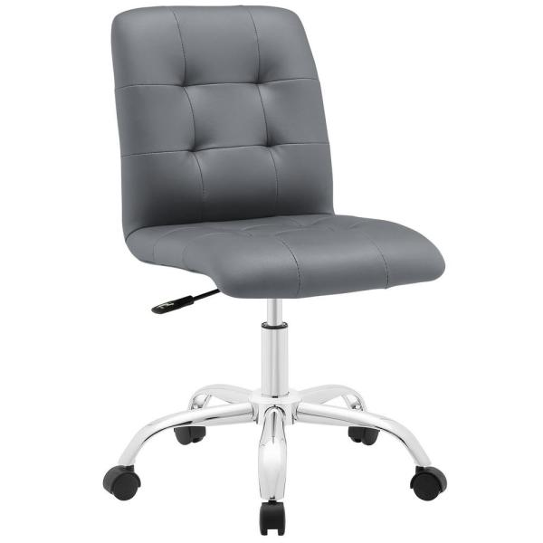 MODWAY Prim Armless Mid Back Office Chair in Gray EEI-1533-GRY