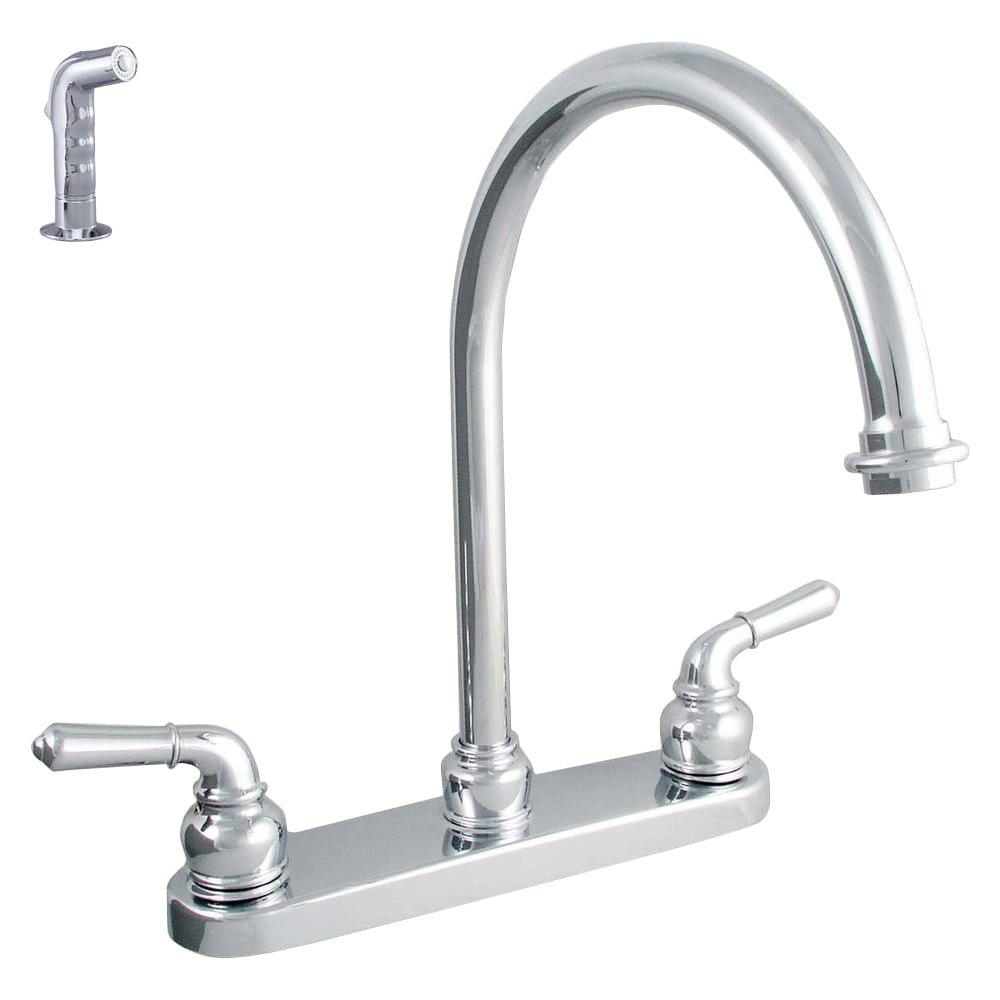 LDR Industries Exquisite 2-Handle Standard Kitchen Faucet with Side Sprayer in Chrome
