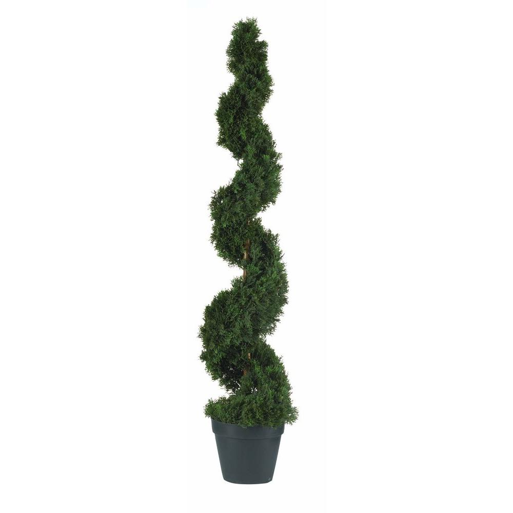 Nearly Natural 4 Ft Indoor Outdoor Cedar Spiral Silk Tree