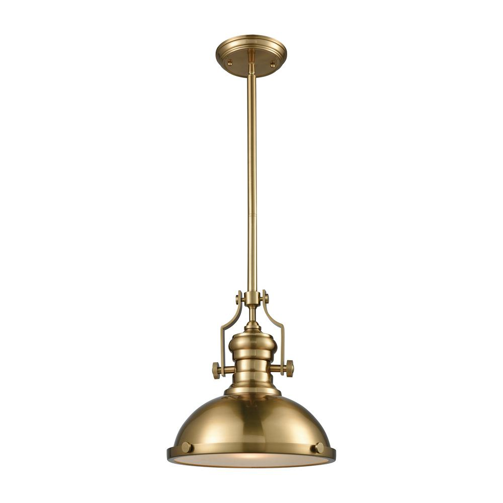 Titan Lighting Chadwick 1-Light Satin Brass with Frosted Glass Diffuser Pendant  sc 1 st  Home Depot & Titan Lighting Chadwick 1-Light Satin Brass with Frosted Glass ...