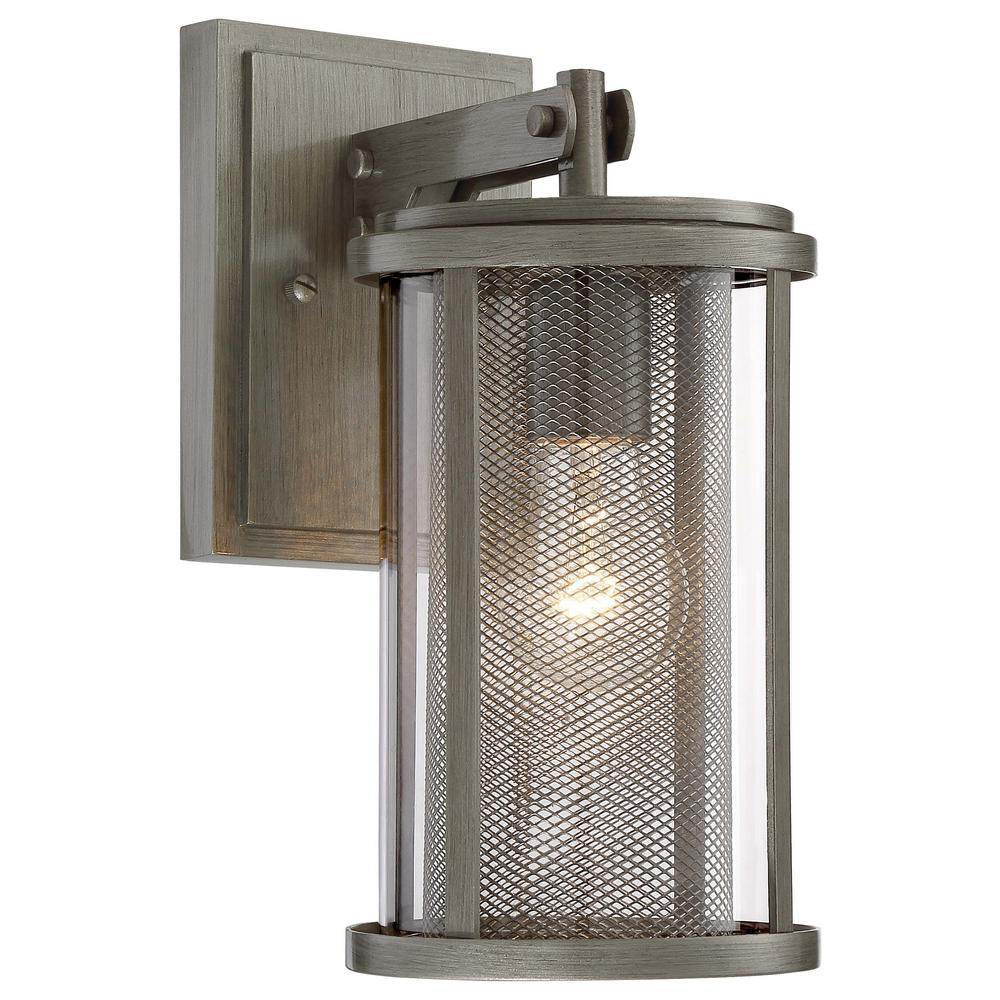 the great outdoors by Minka Lavery Radian Collection 1-Light Painted Brushed Nickel Finish Outdoor Wall Lantern Sconce with Clear Glass