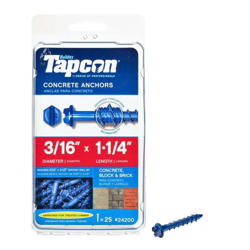 Tapcon 3/16 in. x 1-1/4 in. Hex-Washer-Head Concrete Anchors (25-Pack)