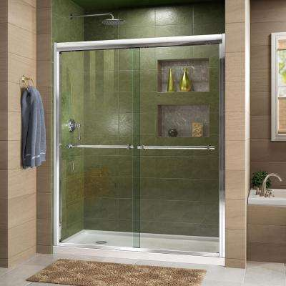 Duet 56 in. to 60 in. x 72 in. Semi-Framed Bypass Sliding Shower Door in Chrome