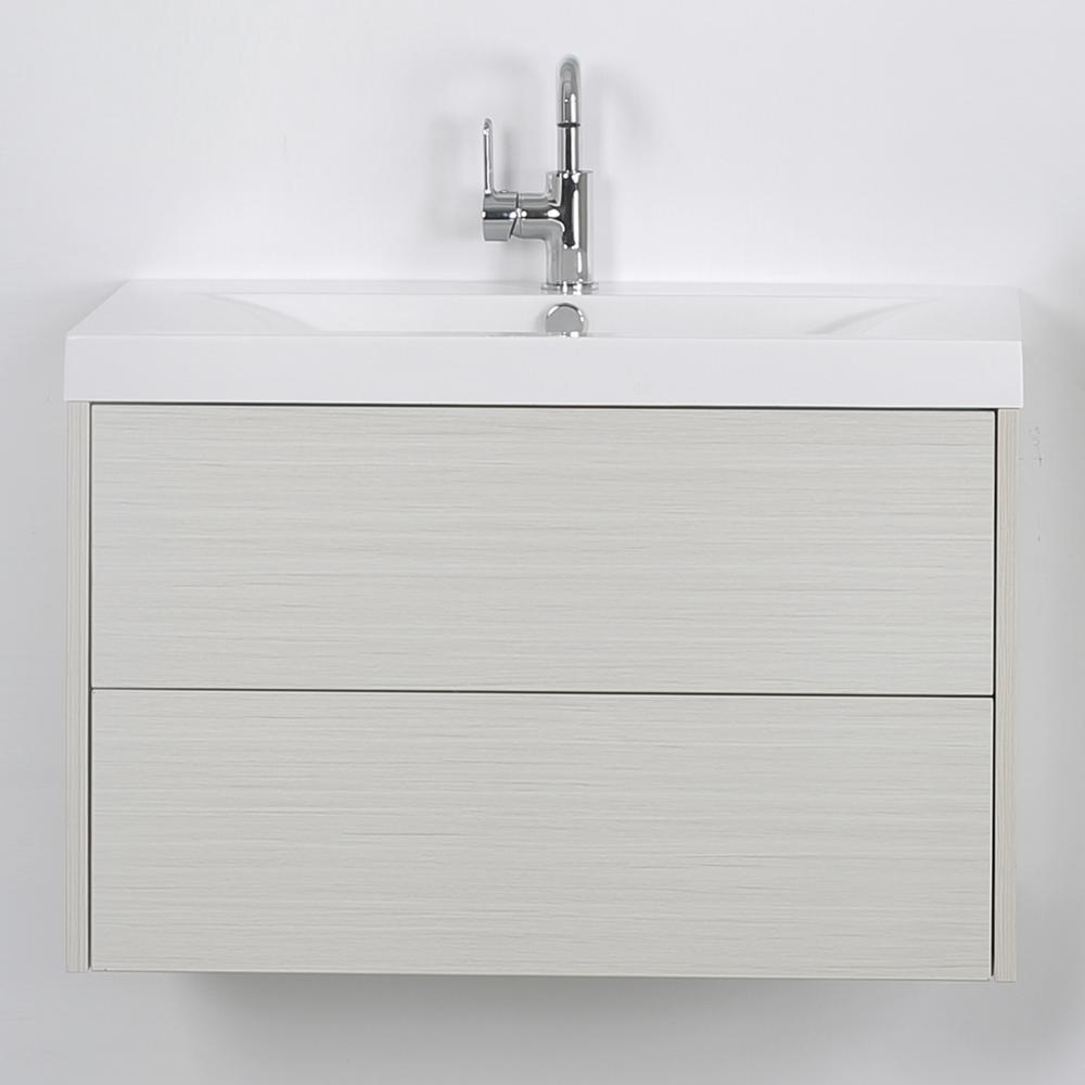 Streamline 31.5 in. W x 19.4 in. H Bath Vanity in Gray with Resin Vanity Top in White with White Basin