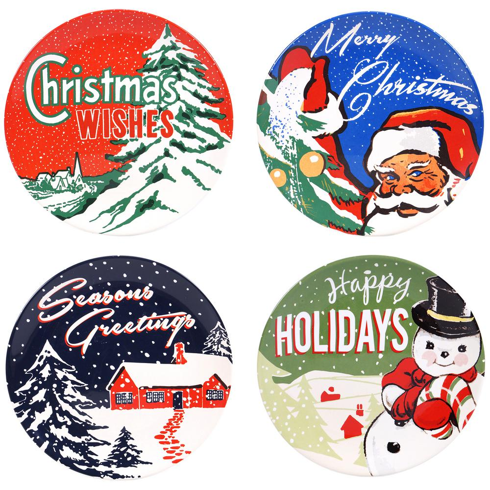 Retro Christmas 9 in. Salad and Dessert Plate (Set of 4)-19161SET/4 ...