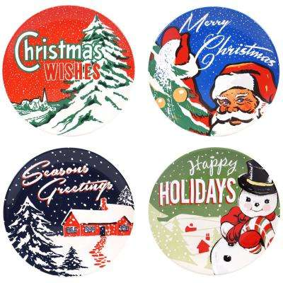 Retro Christmas 9 in. Salad and Dessert Plate (Set of 4)