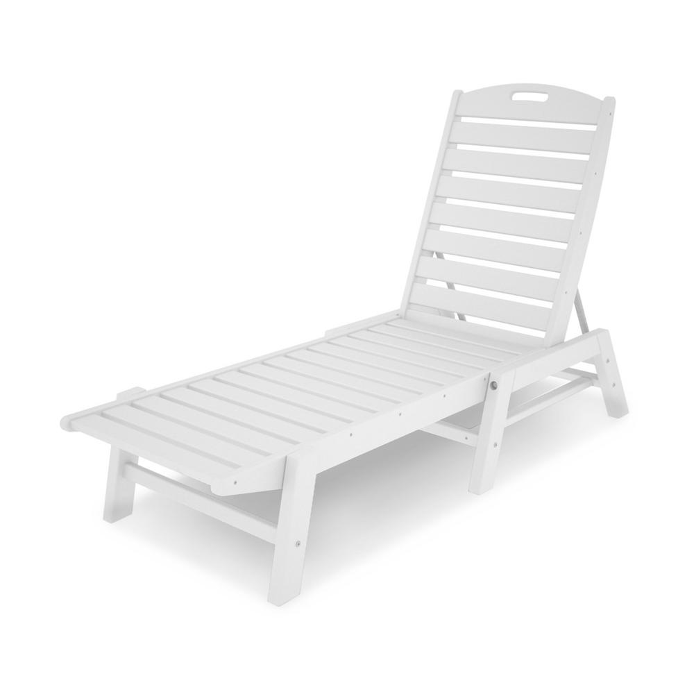 Polywood patio chaise lounge in nautical white nac2280wh for Chaise longue plastique