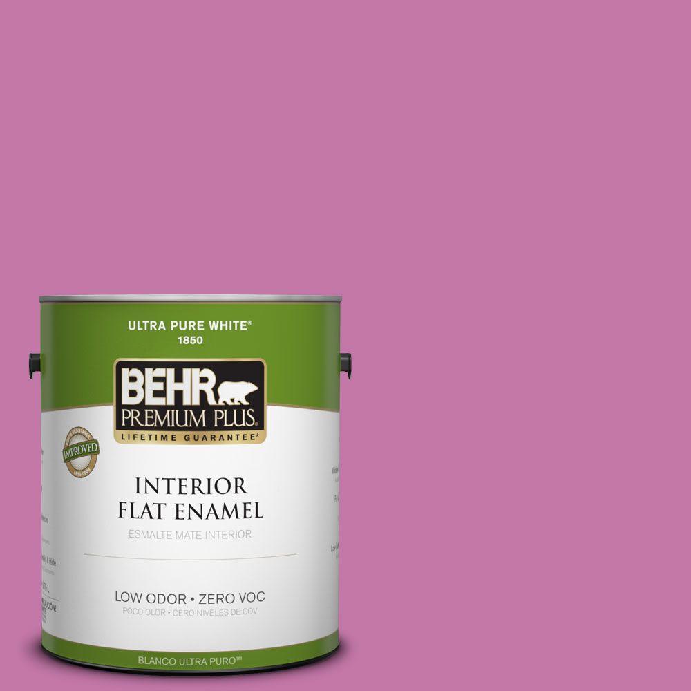 BEHR Premium Plus 1-gal. #680B-5 Strawberry Freeze Zero VOC Flat Enamel Interior Paint-DISCONTINUED