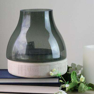7.75 in. Storm Gray Bubble Glass Pillar Candle Holder