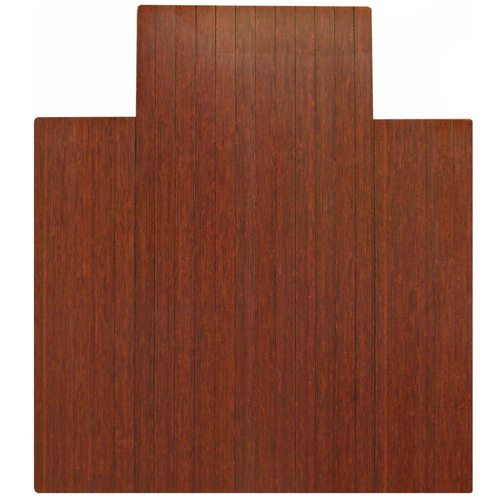 Anji Mountain Standard Dark Brown Mahogany 44 in. x 52 in. Bamboo Roll-Up Office Chair Mat with Lip
