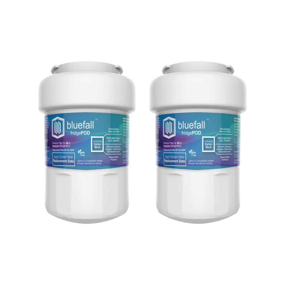 Bluefall 2 Compatible Refrigerator Water Filters Fits GE MWF (Value Pack)