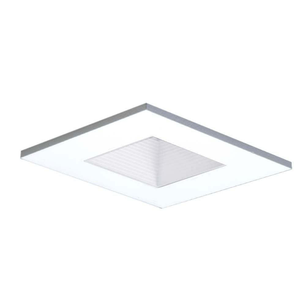 3 in. White Recessed Ceiling Light Square Shower Trim with Regressed