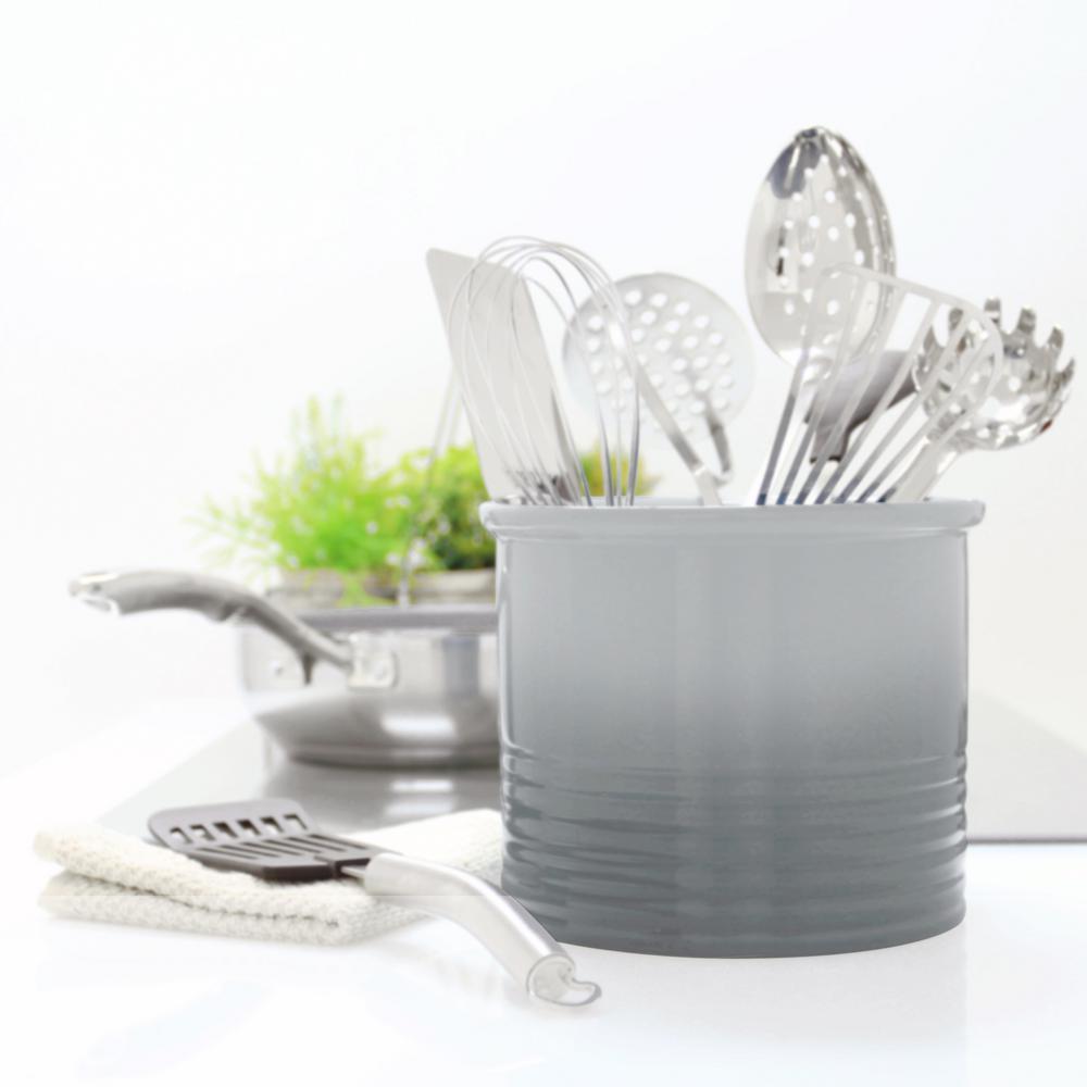 Fade Grey Large Ceramic Utensil Crock