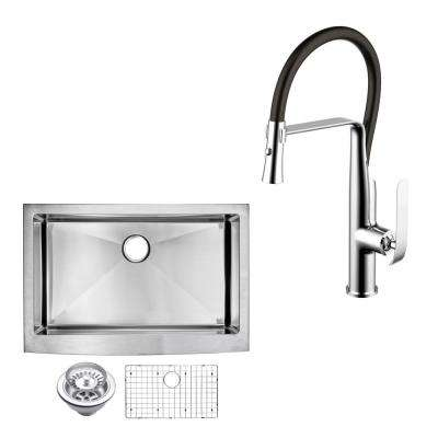 All-In-One Apron Front Stainless Steel 33 in. Single Bowl Kitchen Sink with Faucet in Chrome Sink Kit