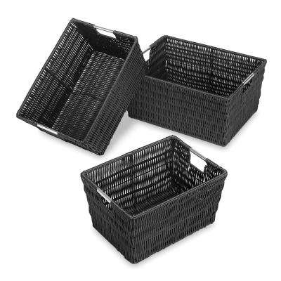 11.5 in. x 6.5 in. Black Java Storage Basket (Set of 3)
