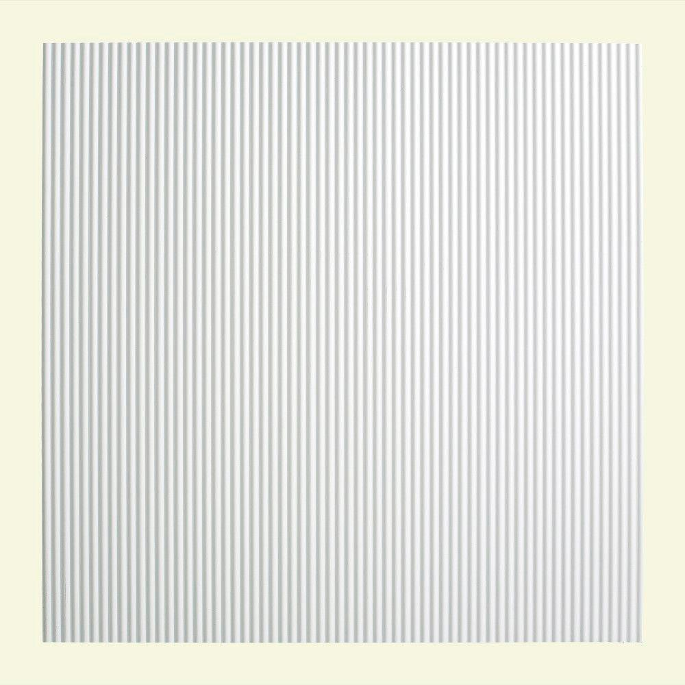 Fasade Rib - 2 ft. x 2 ft. Lay-in Ceiling Tile in Gloss White